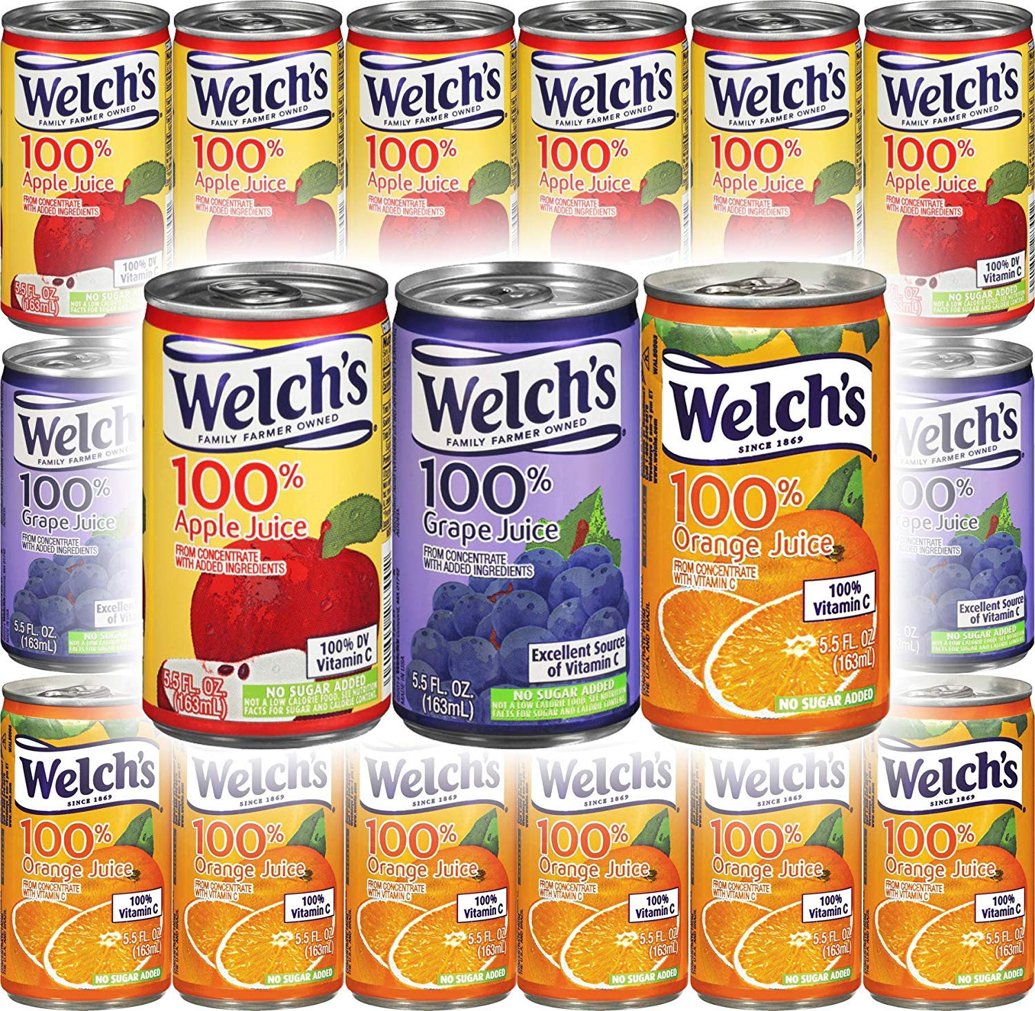 Welch's Apple, Orange, Grape Juice 100% Juice - Variety Pack, 5.5oz (Pack of 18, Total of 99 Oz)