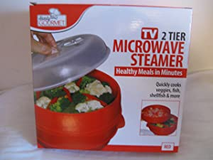 Handy Gourmet FAM-6216 2 Tier Microwave Steamer, Red