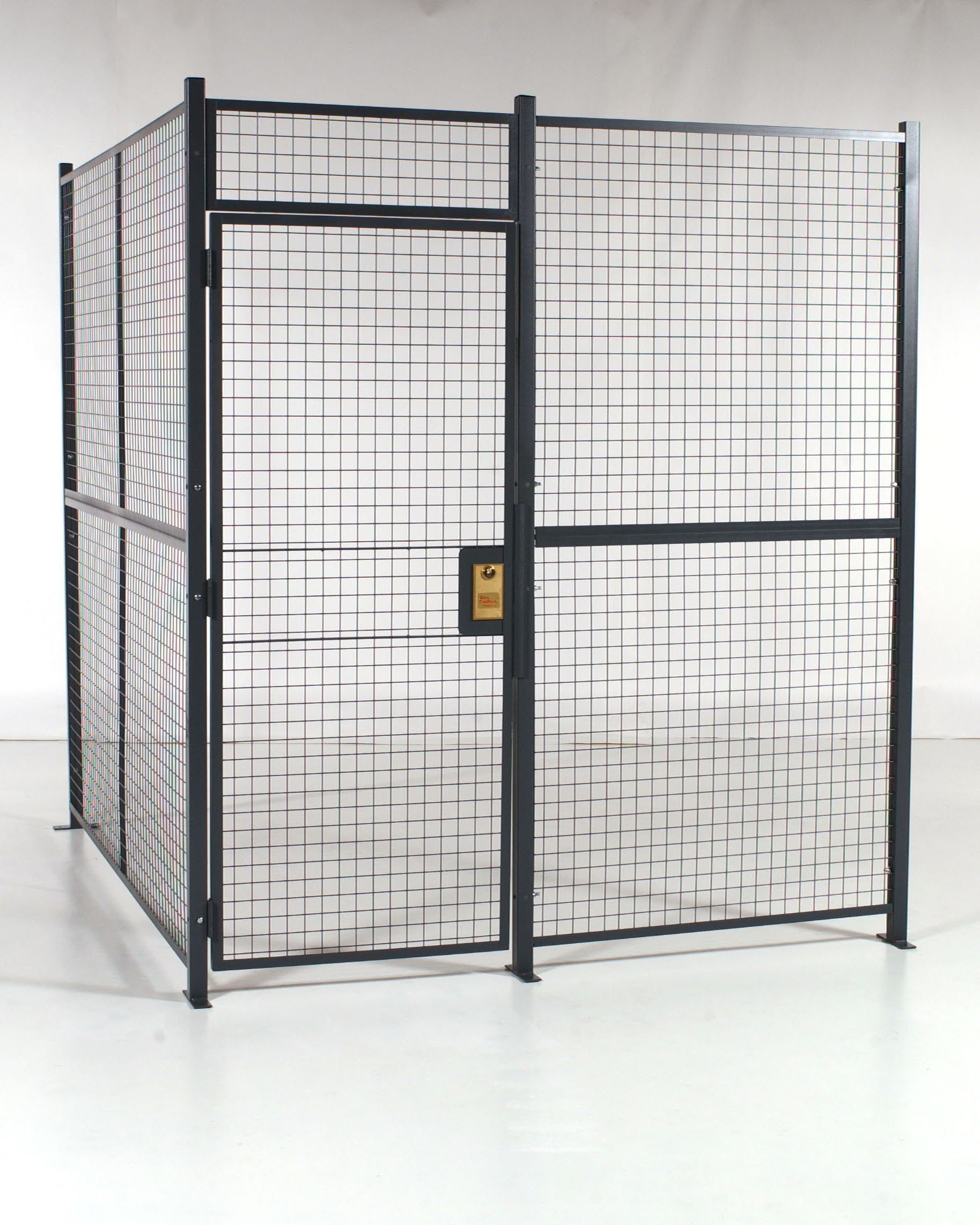 WireCrafters A121282W Welded Wire Mesh 2 Sided Cage with 3' Sliding Door, 10'6'' Length x 10'4'' Width x 10'5-1/4'' Height, Gray