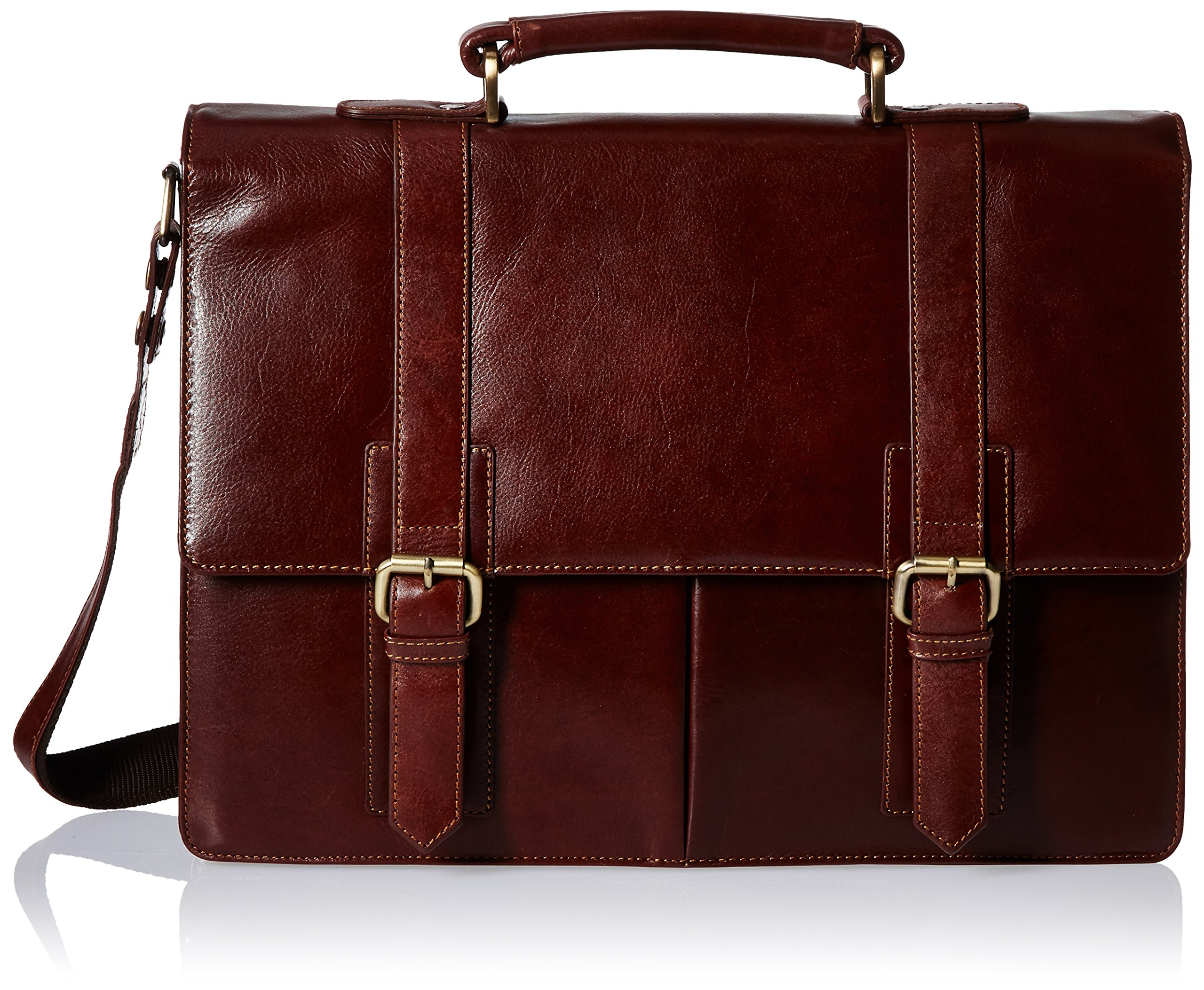 Visconti Leather Vintage Business Briefcase Messenger Bag with Strap, Brown, One Size by Visconti