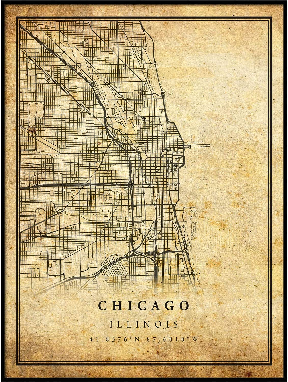 Chicago map Vintage Style Poster Print   Old City Artwork Prints   Antique Style Home Decor   Illinois Wall Art Gift   Vintage maps 24x36