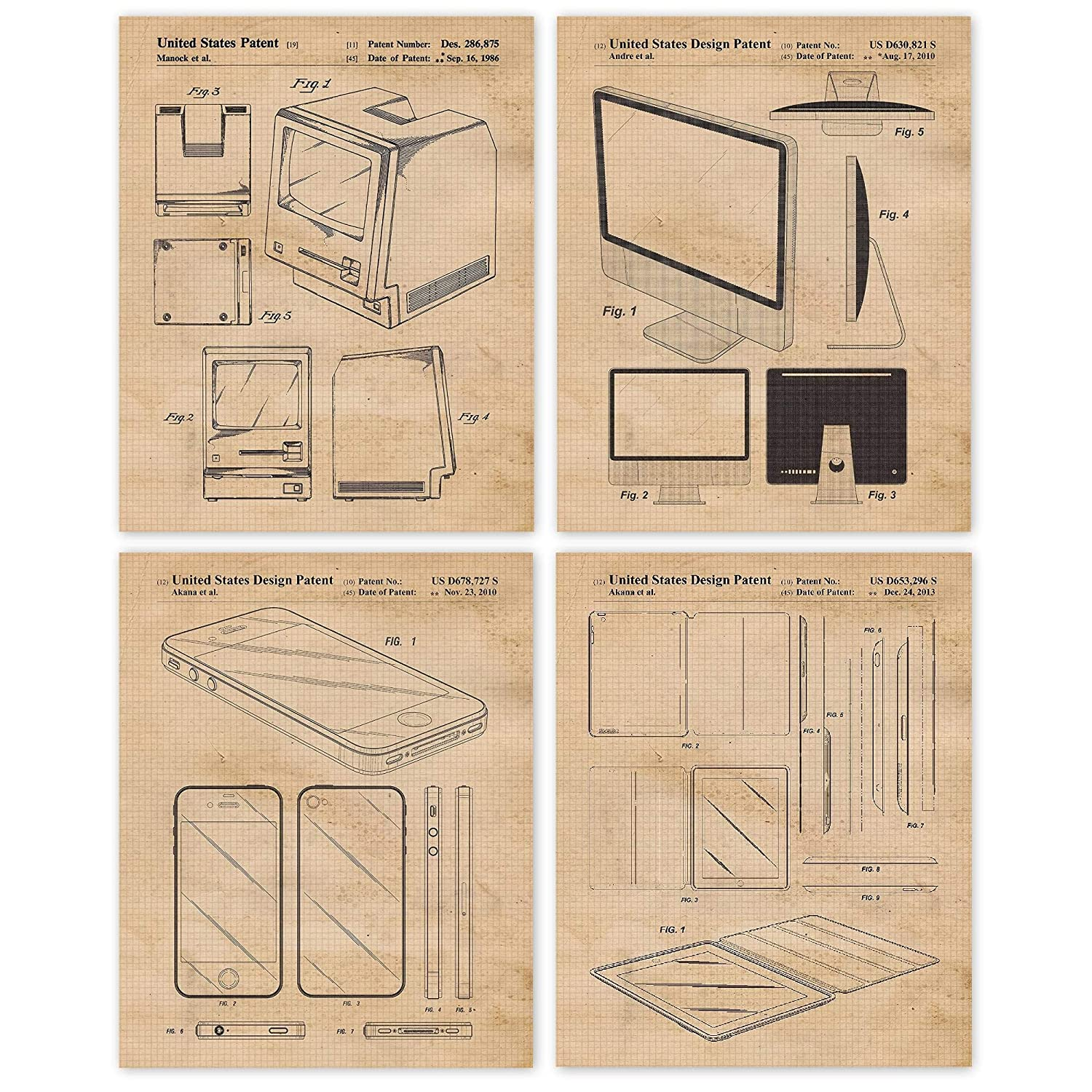 Vintage Steve Jobs Products Patent Poster Prints, Set of 4 (8x10) Unframed Photos, Great Wall Art Decor Gifts Under 20 for Home, Office, Man Cave, Student, Teacher, Smart Computer & Steve Jobs Fan
