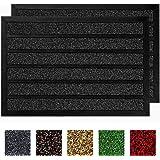 Buganda 2-Pack Durable Rubber Striped Door Mat, Indoor Outdoor, Heavy Duty Easy Clean Doormat, Non-Slip Floor Mat for…