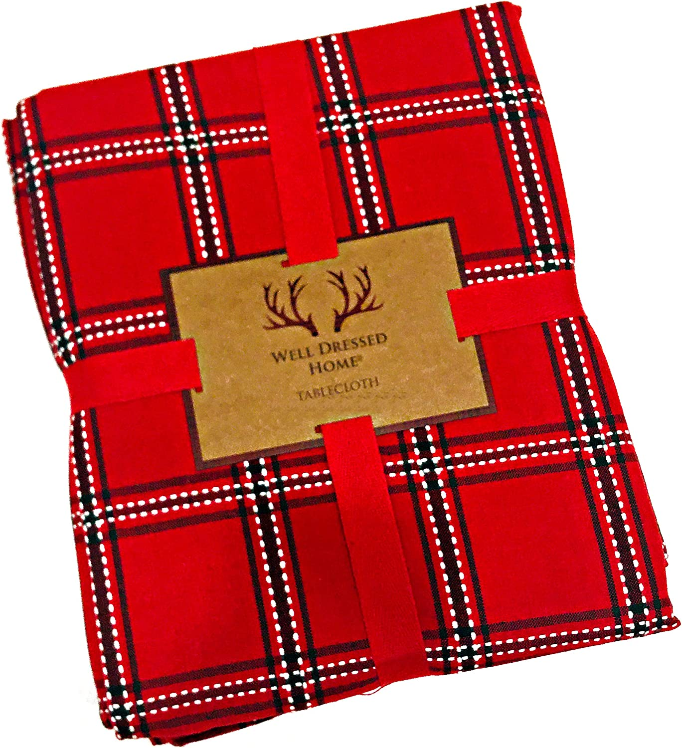 """Well Dressed Home Christmas Holiday Plaid Tablecloth 