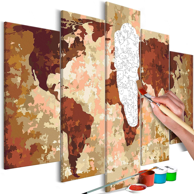 Murando - Malen nach Zahlen Weltkarte 100x50cm 5 TLG Malset DIY n-A-0231-d-m B07GFQ5GTX | Sehr gute Qualität