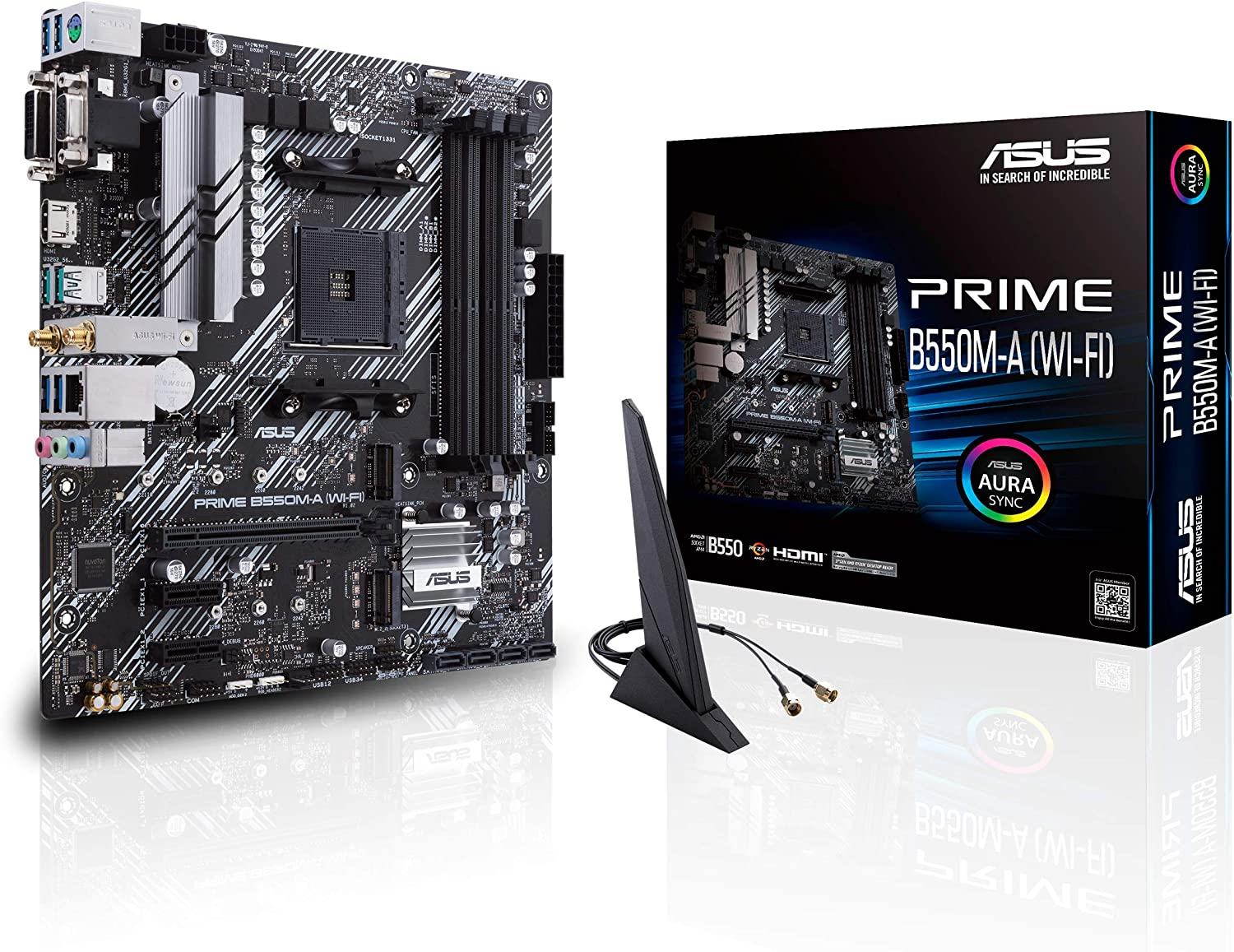ASUS Prime B550M-A WiFi AMD AM4 (3rd Gen Ryzen Micro ATX Motherboard (PCIe 4.0, WiFi 6, ECC Memory, 1Gb LAN, HDMI 2.1/D-Sub, 4K@60HZ, Addressable Gen 2 RGB Header and Aura Sync)