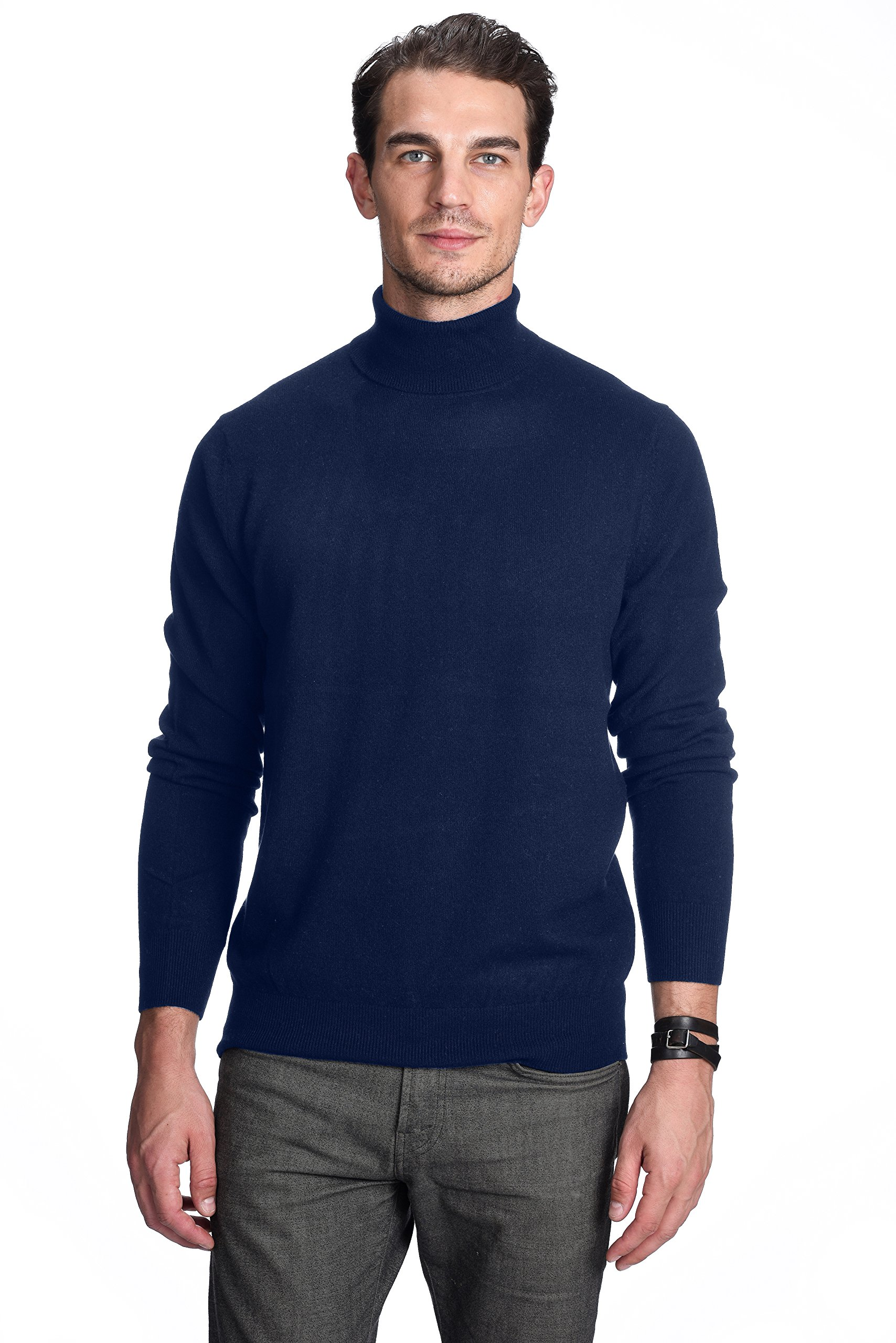 State Cashmere Men's 100% Pure Cashmere Turtleneck Long Sleeve Pullover Sweater
