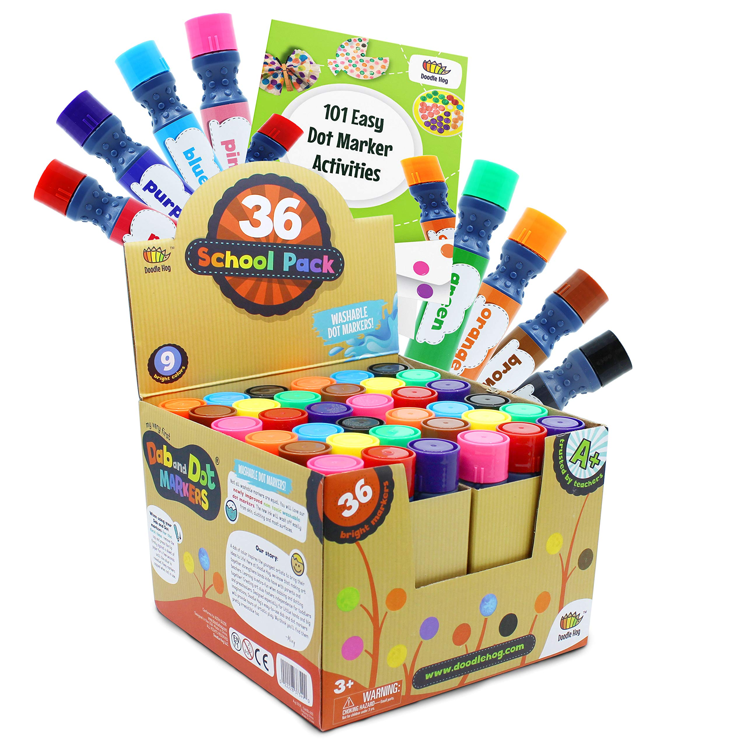 Incredible Value Dot Markers Class Pack in 36 Pack, School and Class Supplies of Dabbers, Daubers, Washable Art Markers in Bulk with Free PDF 101 Dot Markers Activities by Dab and Dot Markers