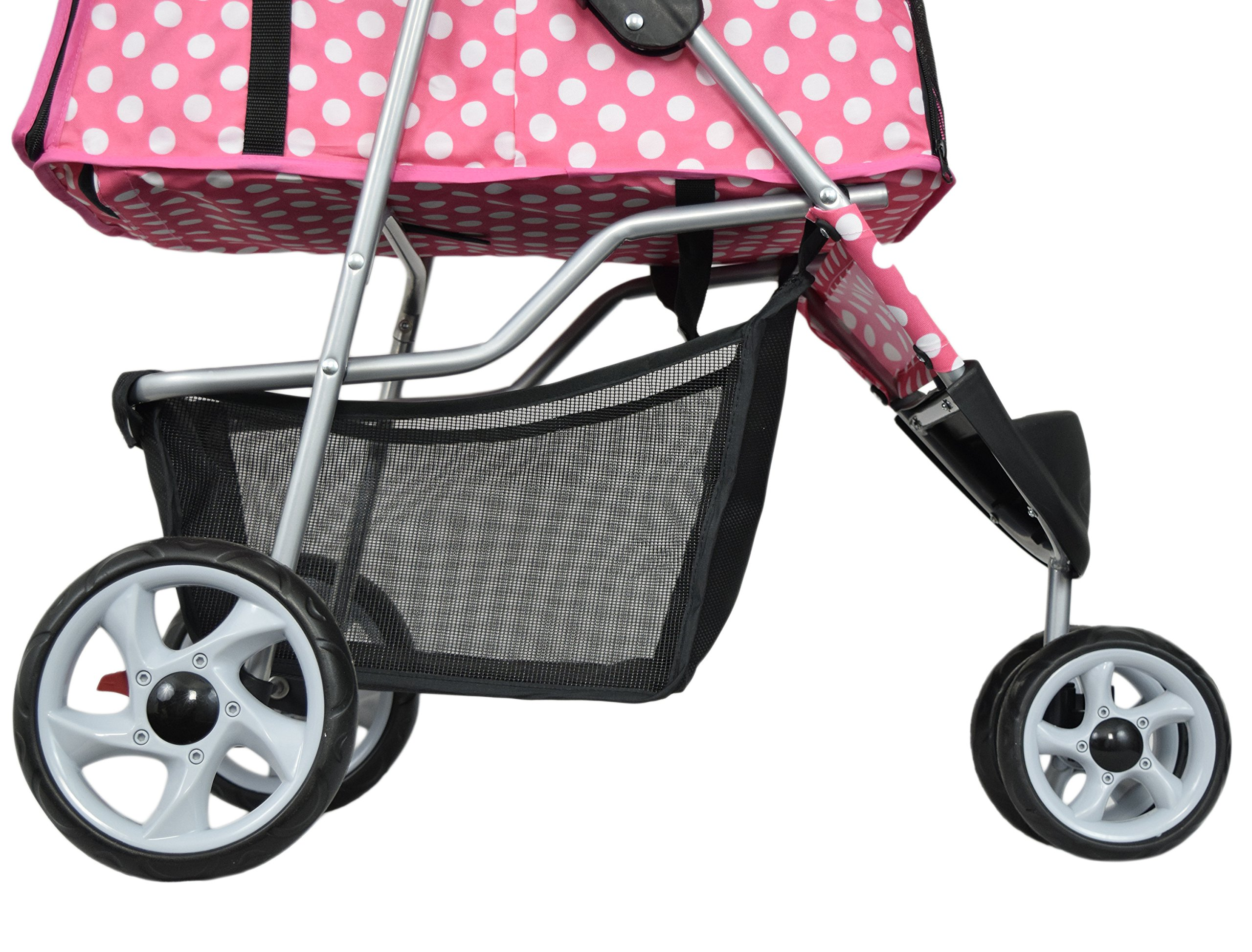 VIVO Three Wheel Pet Stroller, for Cat, Dog and More, Foldable Carrier Strolling Cart, Multiple Colors (Pink & White Polka Dot) by VIVO (Image #5)