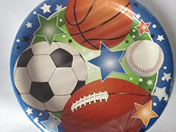 Sport Theme Paper Plates - 18 Count : themed paper plates - pezcame.com