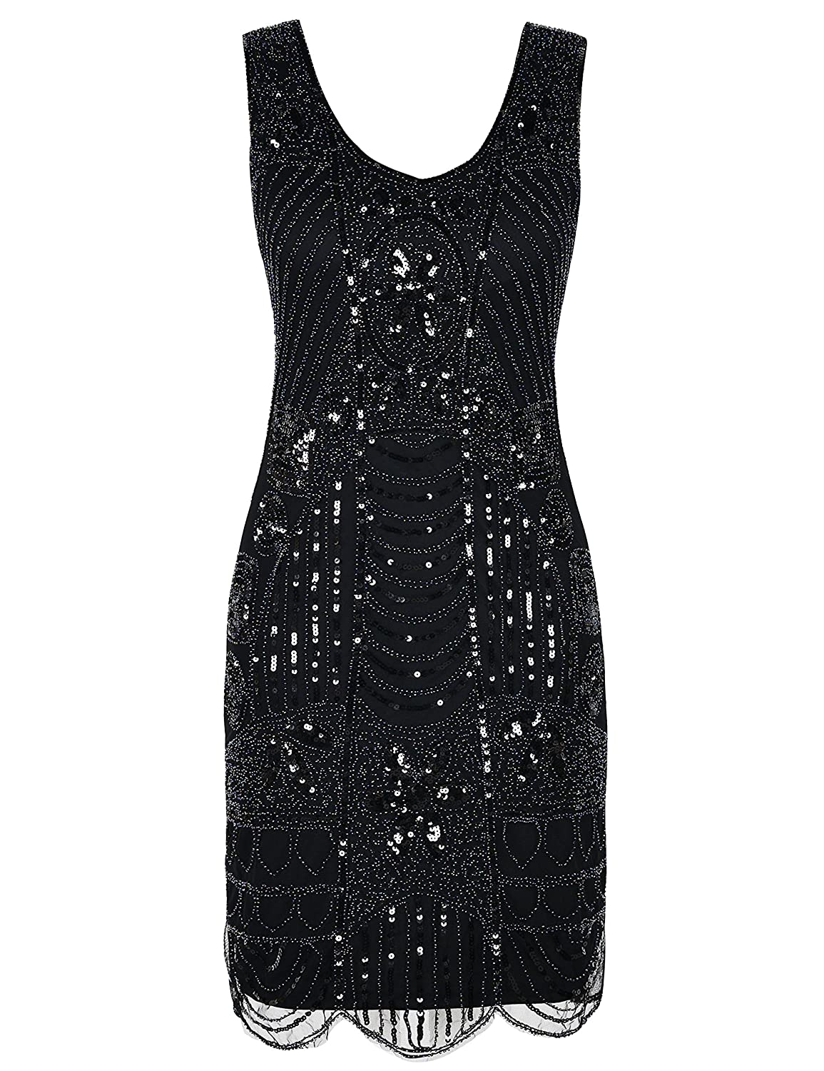 Roaring 20s Costumes- Flapper Costumes, Gangster Costumes PrettyGuide Womens 1920s Flapper Dress Gatsby Sequin Scalloped Inspired Cocktail Dress $39.99 AT vintagedancer.com