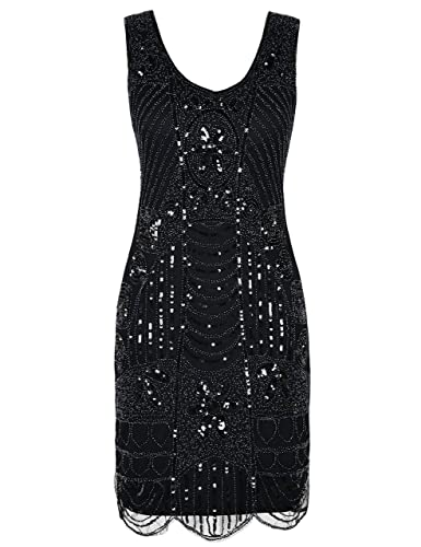 Flapper Costumes, Flapper Girl Costume PrettyGuide Womens 1920s Flapper Dress Gatsby Sequin Scalloped Inspired Cocktail Dress $39.99 AT vintagedancer.com