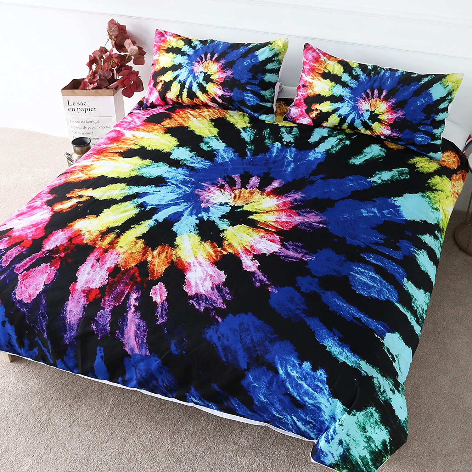 BlessLiving Blueberry Tie Dye Bedding Bohemian Hippie Tie Dyed Bed Spread 3 Pieces Boys Abstract Bed Duvet Covers (Twin)
