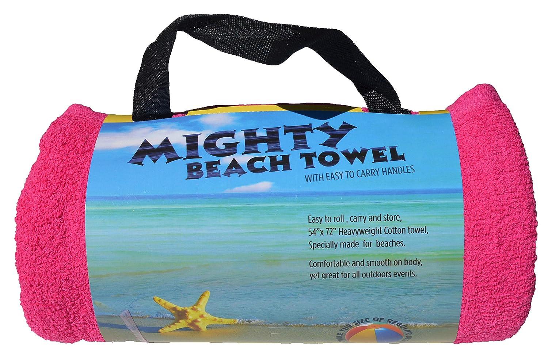 "Mighty 54""x72"" Two Person Beach Towel, Fuchsia"