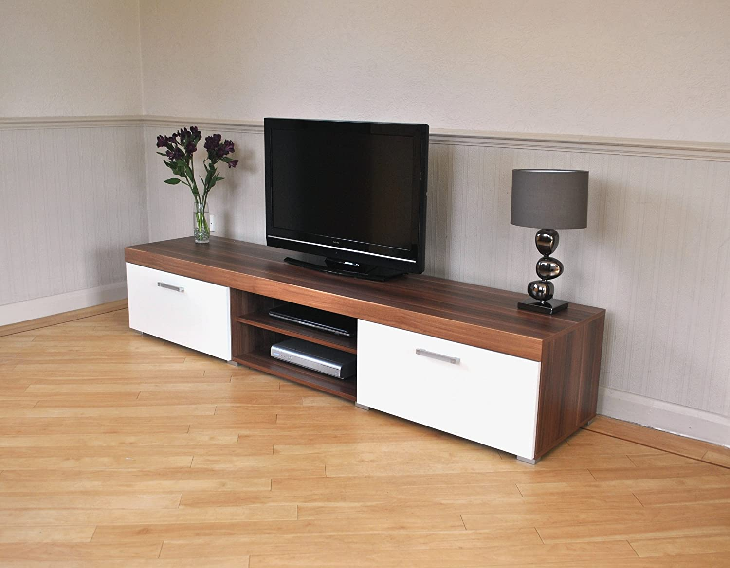 2 Metre White & Walnut Sydney 2 Door TV Cabinet Extra Large Unit ...