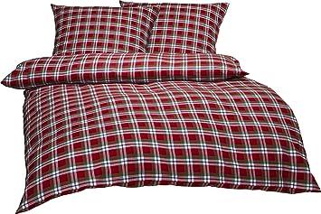 Bettwaesche-mit-Stil Warme Fein-Flanell Winter Bettwäsche Toronto Landhaus  Karo Rot Grün Weiß Kariert (200 cm x 200 cm + 2 x 80 x 80)