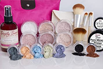 IMPULSE KIT Full Size Mineral Makeup Set Matte Foundation Bare Face Sheer Powder Cover (Warm-neutral/most popular)