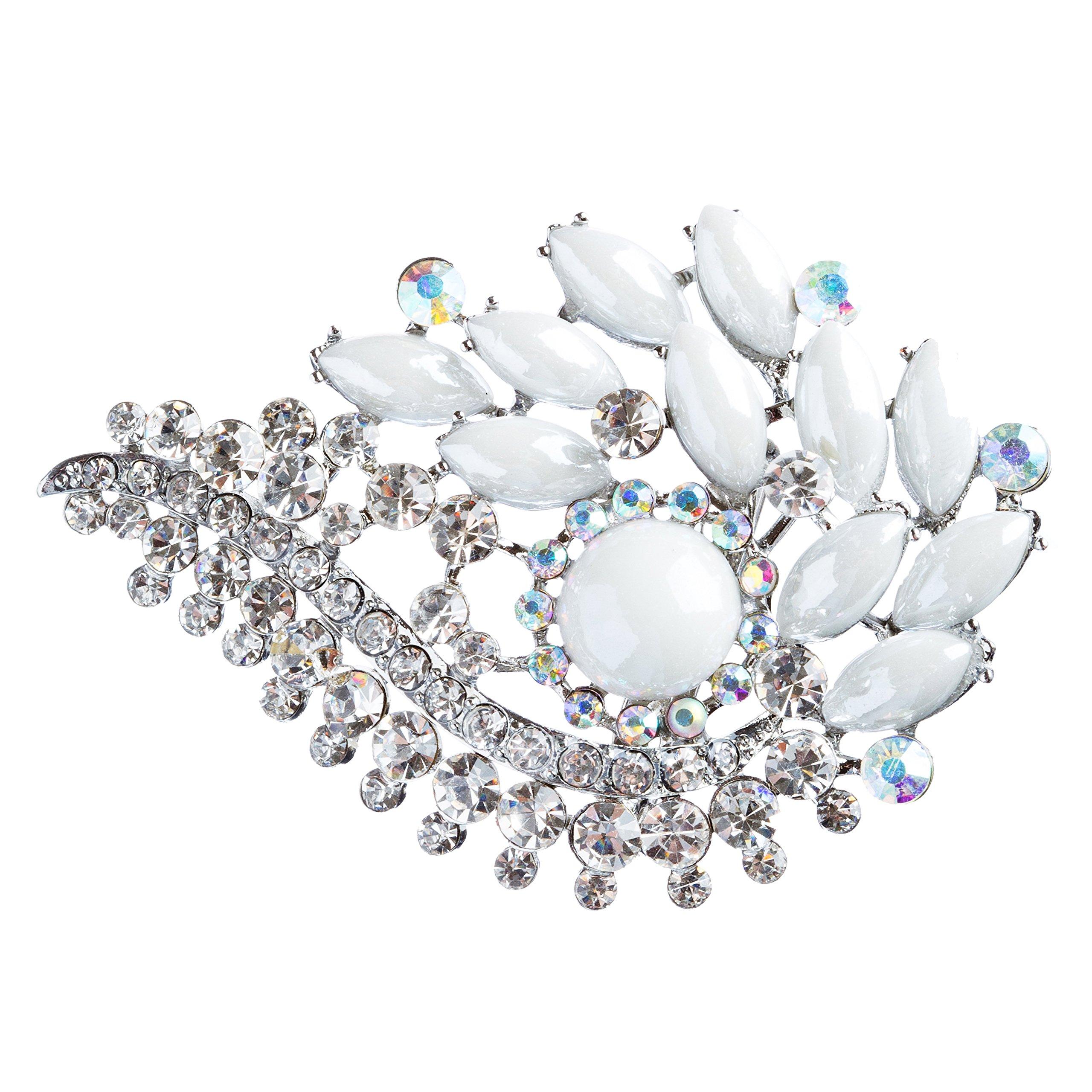 ACCESSORIESFOREVER Women Bridal Wedding Jewelry Crystal Rhinestone Classy Brooch Pin BH178 Silver