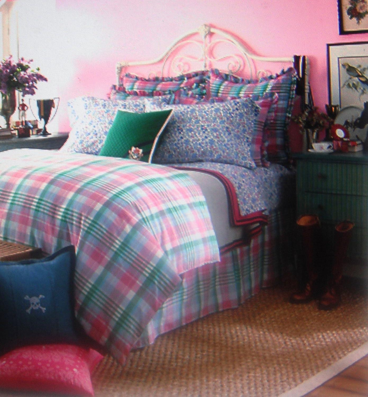 Lauren Ralph Lauren University Bedding Caitlin Bedskirt Queen- Pink/green Plaid