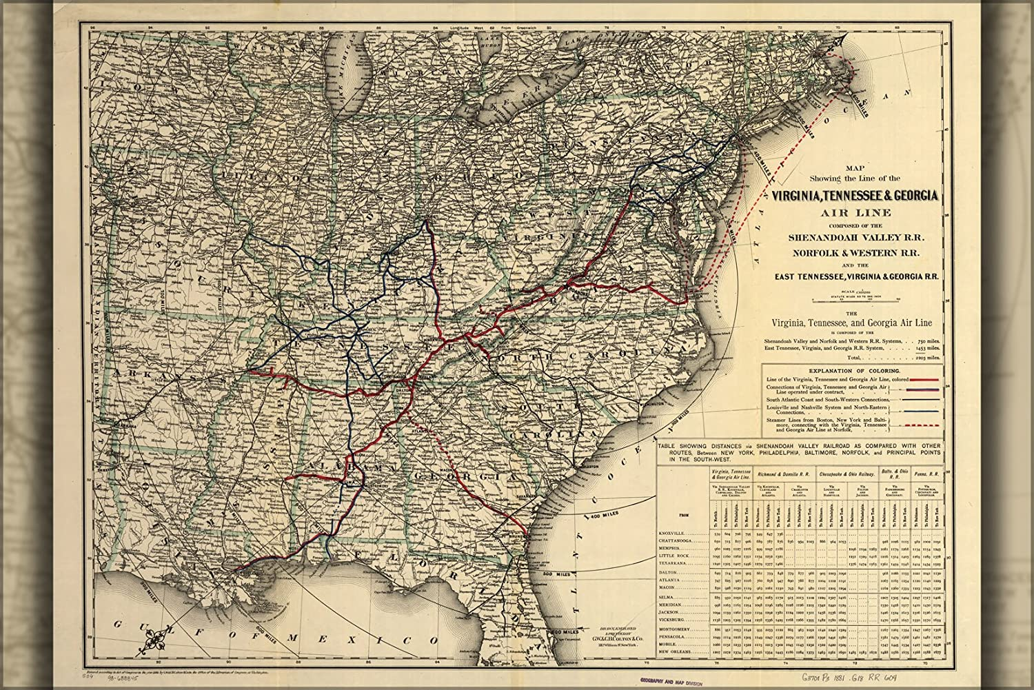 Amazoncom  20x30 Poster Map Virginia Tennessee Georgia Railroad