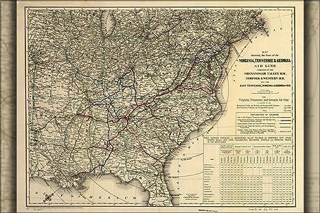 Railroad Map Of Georgia.Amazon Com 20x30 Poster Map Virginia Tennessee Georgia Railroad