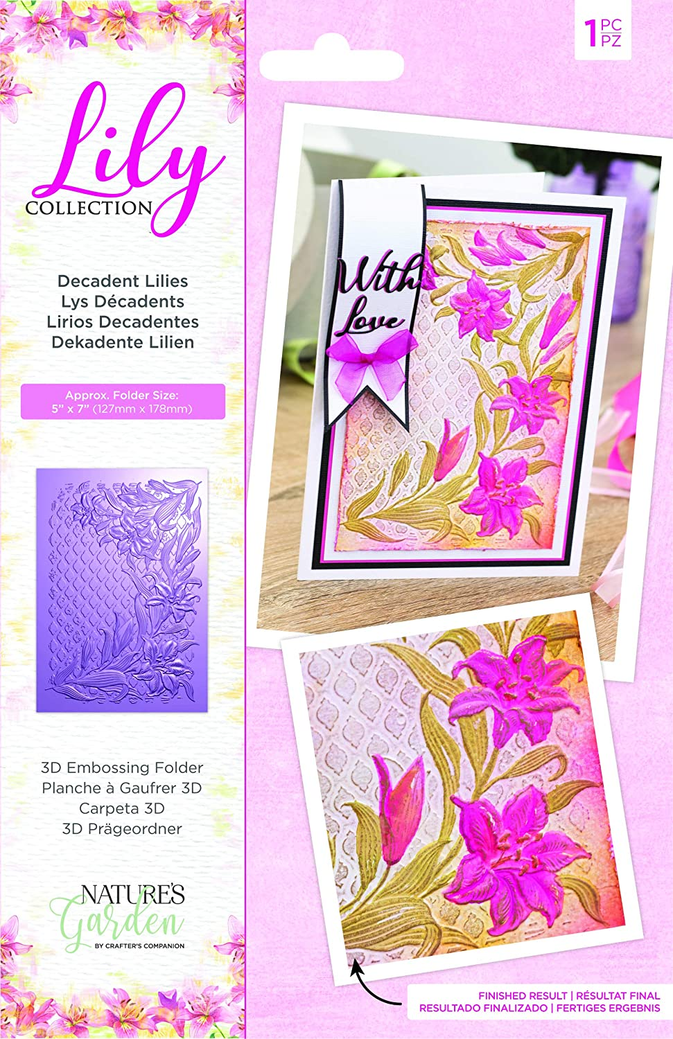 """Nature's Garden Collection-5"""" x 7"""" 3D Embossing Folder-Decadent Lilies, 5-inch x 7-inch, Transparent"""