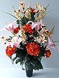 Composición de Flores Artificiales En cono con contrapeso cemento para una perfecta traje de votre ramo de flores, Plus besoin de arena, CE jarrón en PVC se dépose en un jarrón cenizas. (Orange)