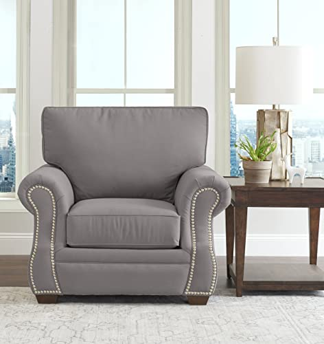 Klaussner Home Furnishings Jensen Accent Armchair, 40 L x 44 W x 31 H, Dove