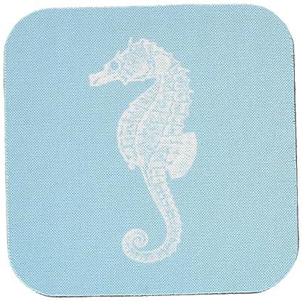 3dRose cst_164957_1 Blue Seahorse Print Sea Horse Ocean Marine Beach Aquarium Aquatic Soft Coasters, Set of 4