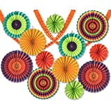 14 Pack - Colorful Fan and Streamer Decoration Pack - 12 Fans and 2 Streamers - Perfect for Birthday Parties, Baby Showers, and Mexican Fiestas