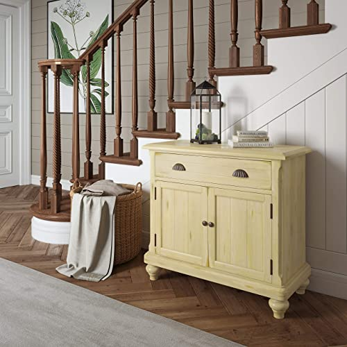 Right2Home Country Door Chest-Buttercream Storage Cabinet