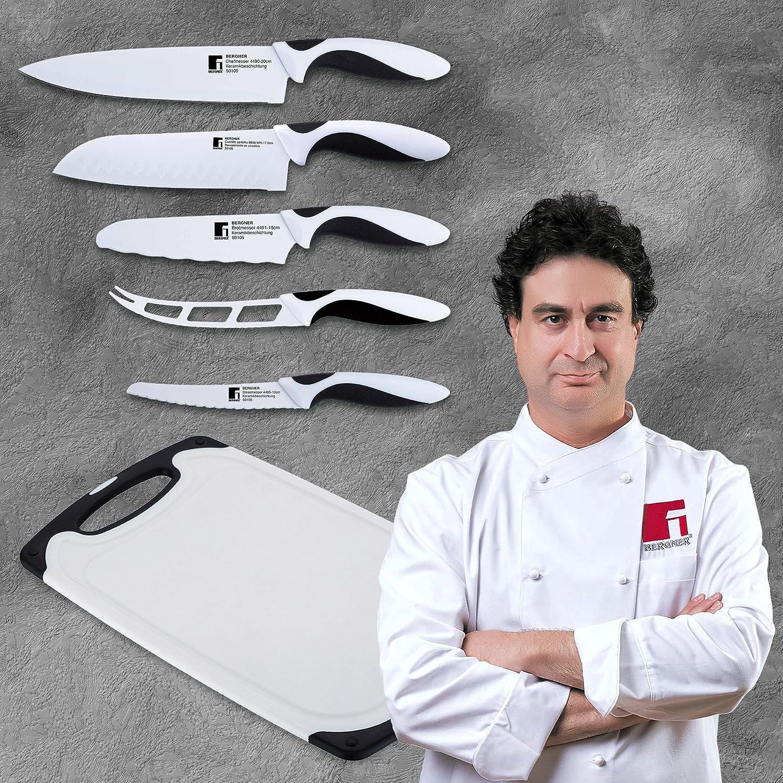 Bergner Set de Cuchillos, Acero Inoxidable, Blanco, 31.5x20x7 cm, 5 Unidades