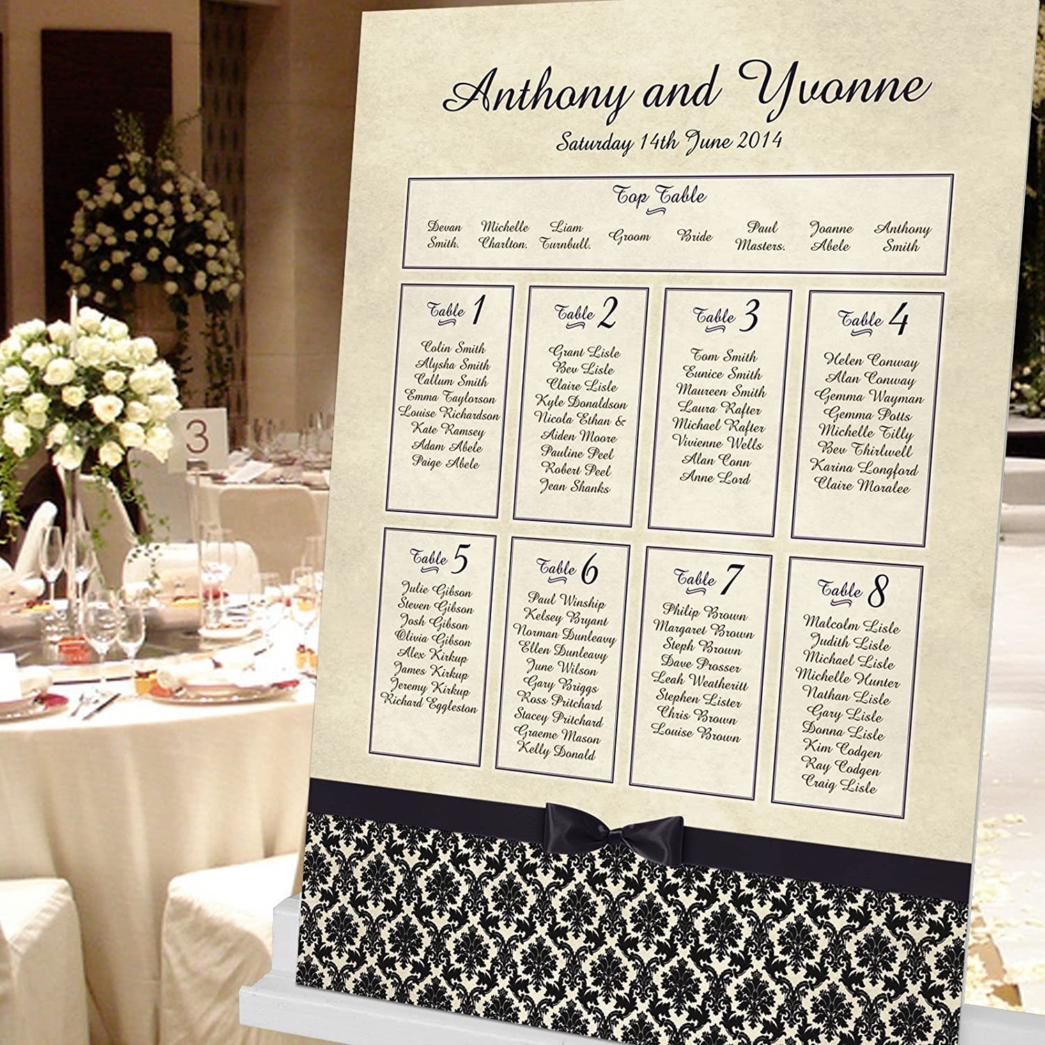 Any Colour A1 Personalised Damask Style Table Plan