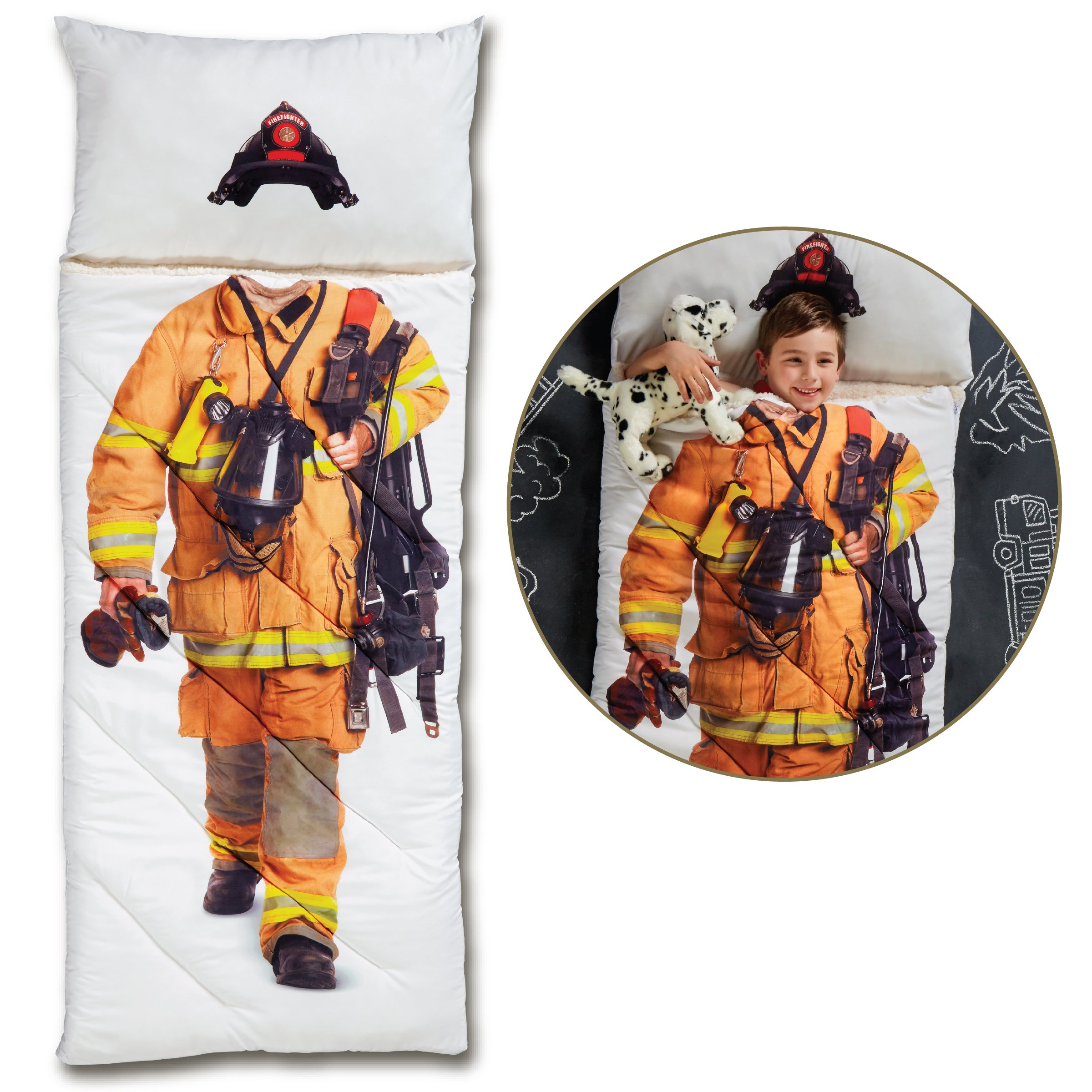 FAO Schwarz Imagine This Photo Printed Sleeping Bag for Children, Realistic Firefighter Design, Cozy Comfortable Sherpa Lining W/Integrated Pillow & Travel Straps, Full Size, Perfect for Sleepovers