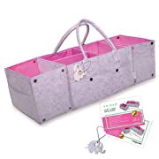 Diaper Caddy by OVIDDO | Extendable Baby Organizer with 13 Compartments and Water Resistant Interior Lining | Large Baby Basket and Nursery Organizer one of The Best Baby Shower Gifts - Pink