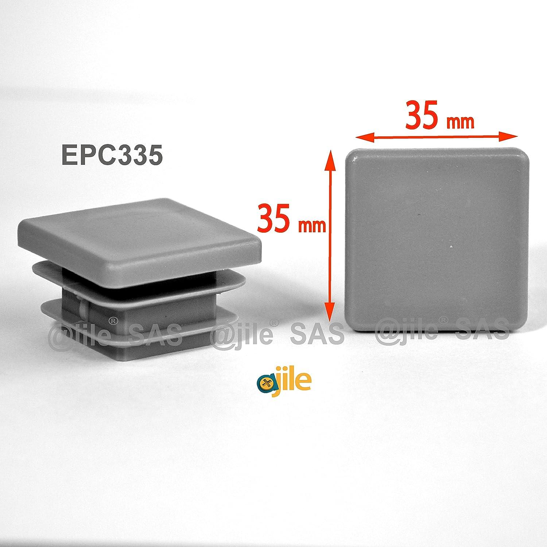 EPC335 GRIS 4 piezas ajile Contera acanalada para tubo cuadrado 35 x 35 mm