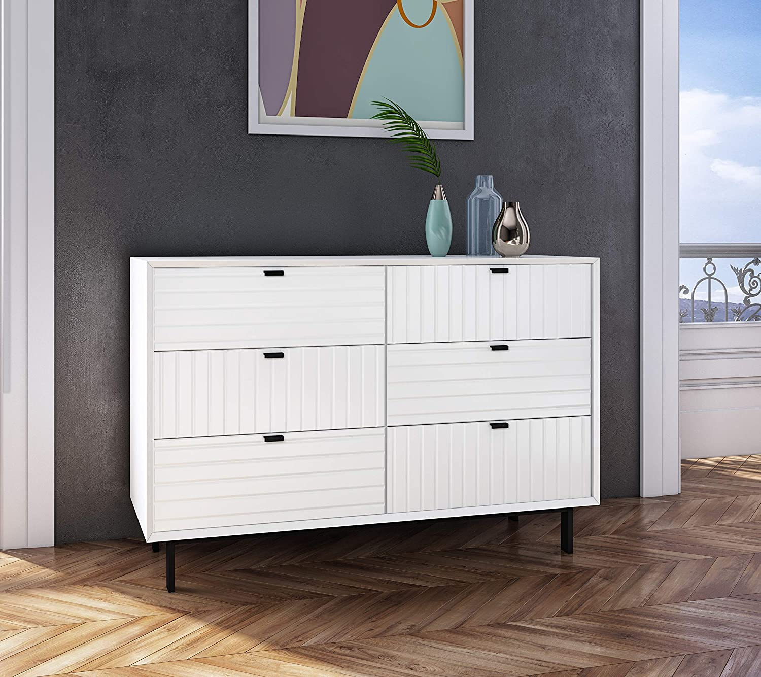 Limari Home Artesia Collection Modern Style Bedroom Matte 6 Drawer Double Dresser With Metal Legs Handles White Furniture Decor Amazon Com