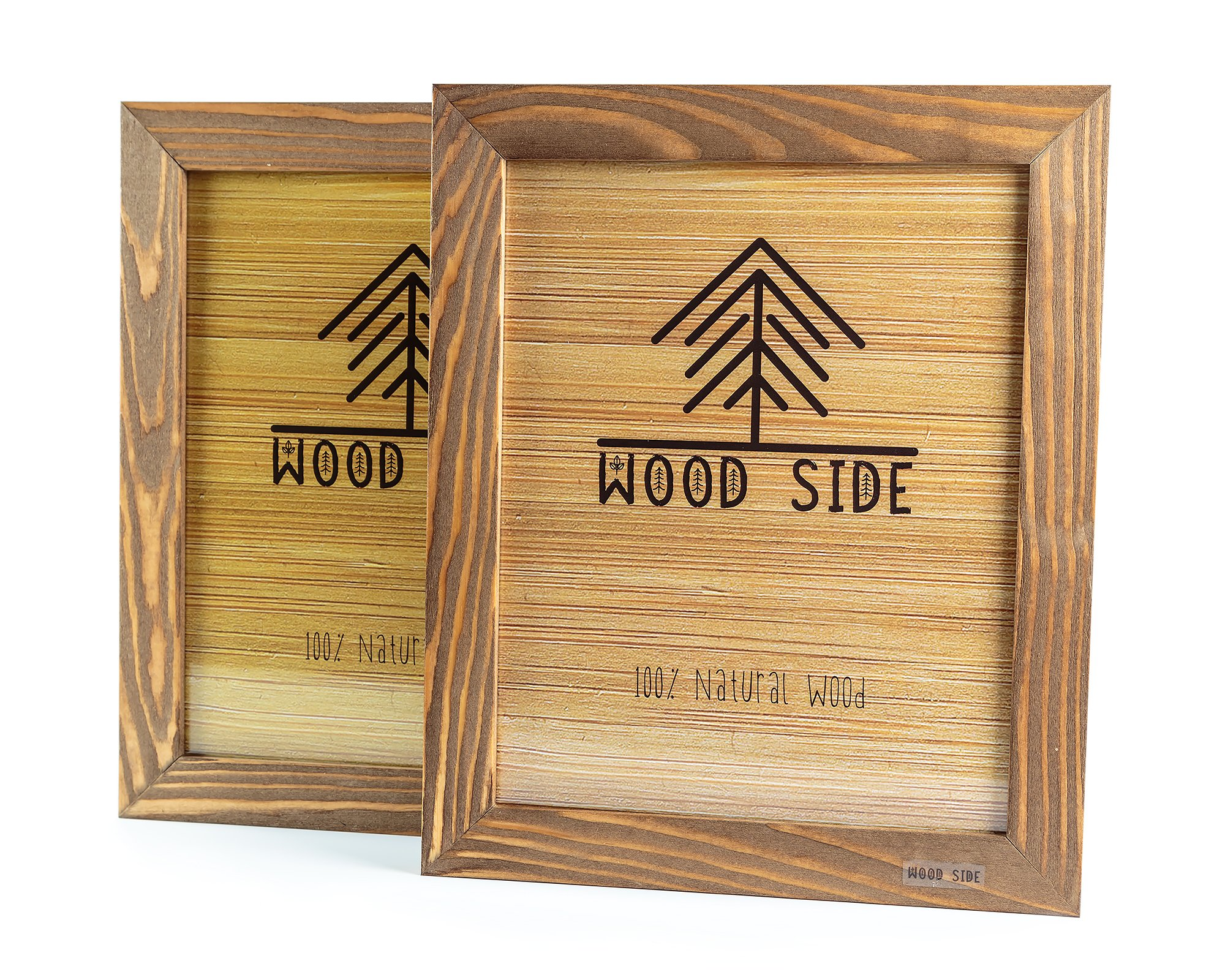 Rustic Wooden Picture Frame 8x10 - Made to Display Pictures 8x10 - Set of 2-100% Natural Eco Wood with Real Glass for Wall Mounting Photo Frame - Walnut by Wood side