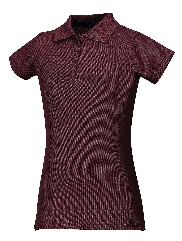 Classroom School Uniforms Junior Girls Short Sleeve Stretch Pique Polo Burgundy Small