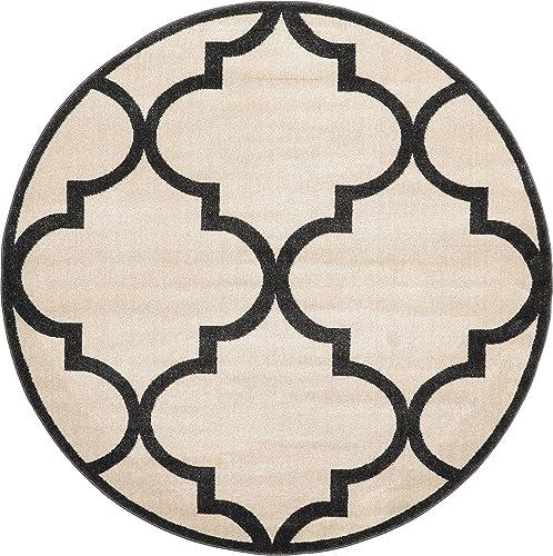 Unique Loom Trellis Collection Moroccan Lattice Beige Round Rug 6 0 x 6 0