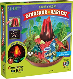 Creativity for Kids Grow N' Glow Dinosaur Habitat – Create Your Own Dino Garden Kit