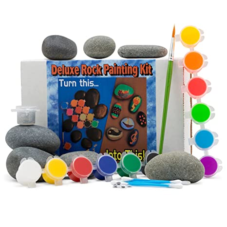Amazon.com: Deluxe Rock Painting Kit, With Rocks, Arts and Crafts ...