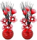 Flourish 813 Mini Articial - Vaso da fiori, colore: verde, 32 cm, 1 paio, Vetro, Rosso, 10x10x32 cm