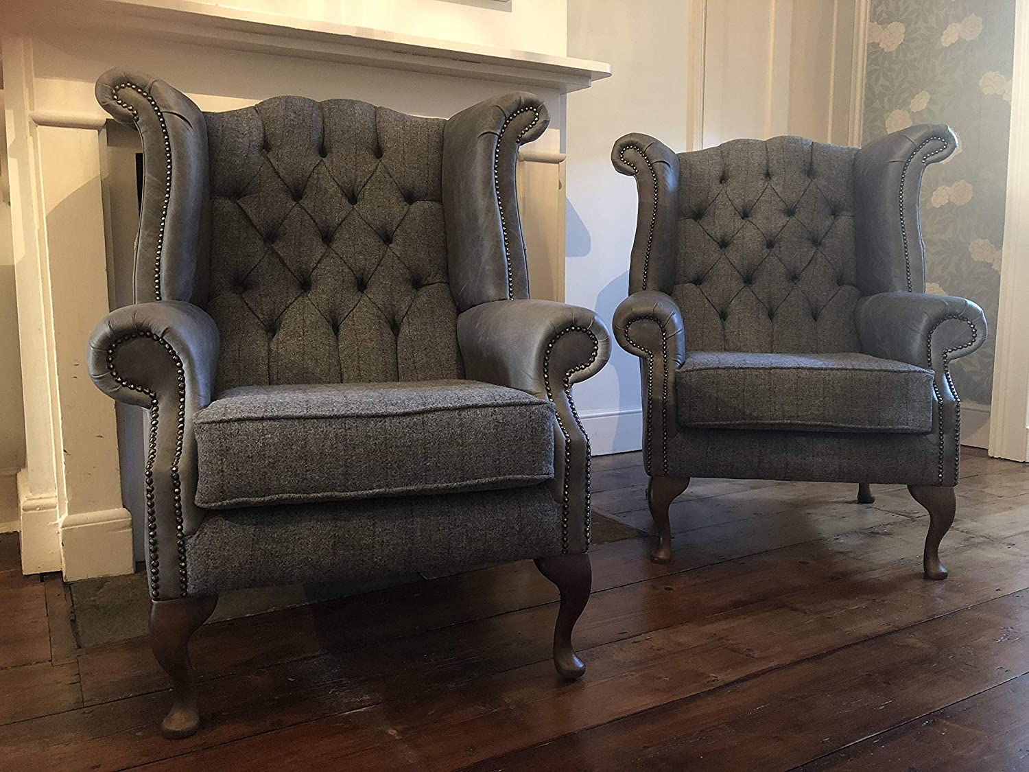 Excellent A Pair Of Chesterfield Queen Anne High Back Wing Chairs Theyellowbook Wood Chair Design Ideas Theyellowbookinfo