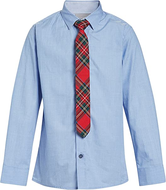 next Niños Camisa con Corbata Escocesa (3-16 Años) Azul 16 años ...