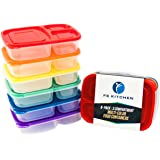 FS Kitchen Dishwasher Safe BPA Free Plastic 3-Compartment Lunch Box with Lid, Set of 6