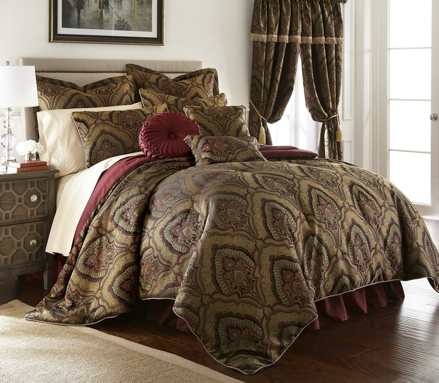 Chezmoi Collection Seville-Burgundy-Com-Queen 9-Piece Jacquard Black Gold Maroon Red Medallion Paisley Oversized Comforter Set