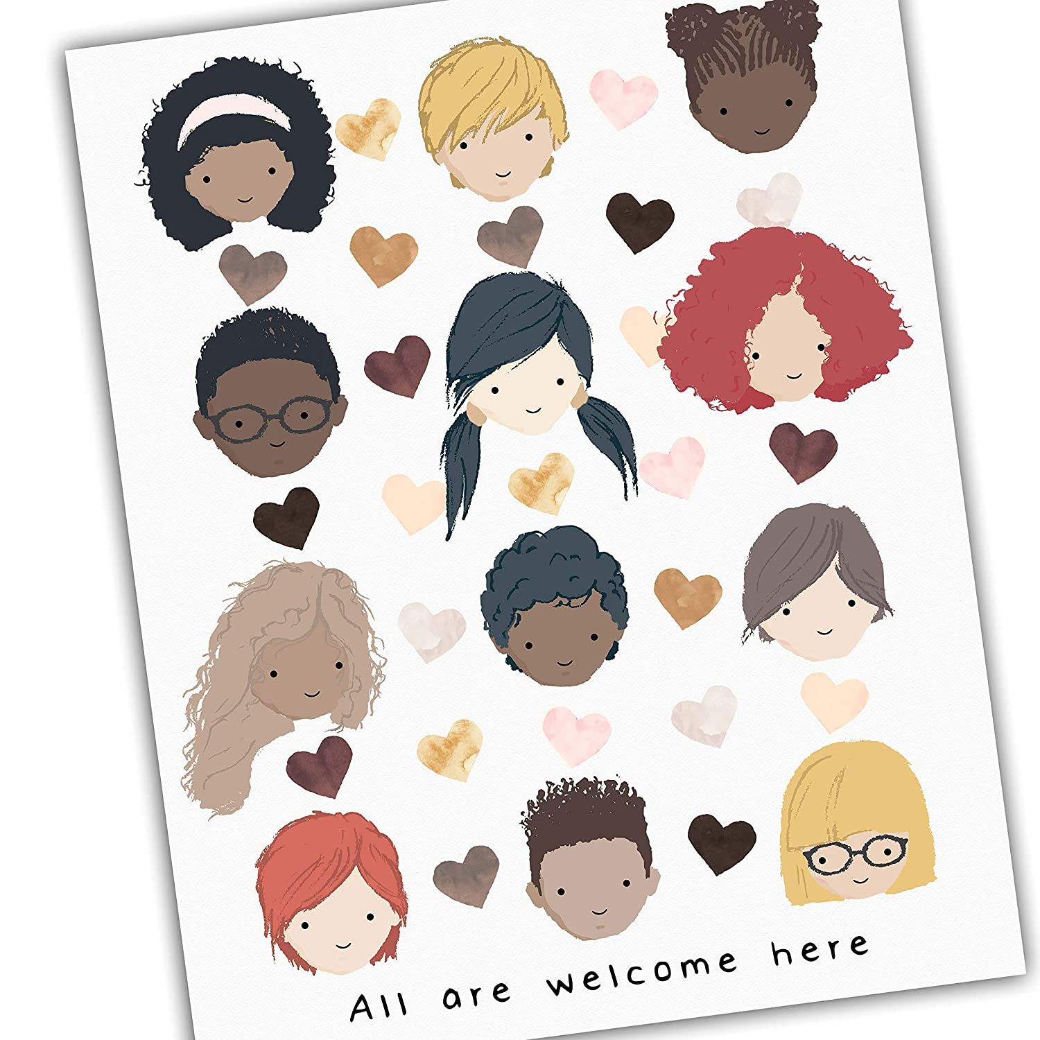 Diversity Art for Kids Hand Prints Strength in Unity Beauty in Diversity Power in Kindness Courage in Truth Promote Unity Celebrate Diversity 16x20 or 24x36 UNFRAMED Poster Print 8x10 11x14