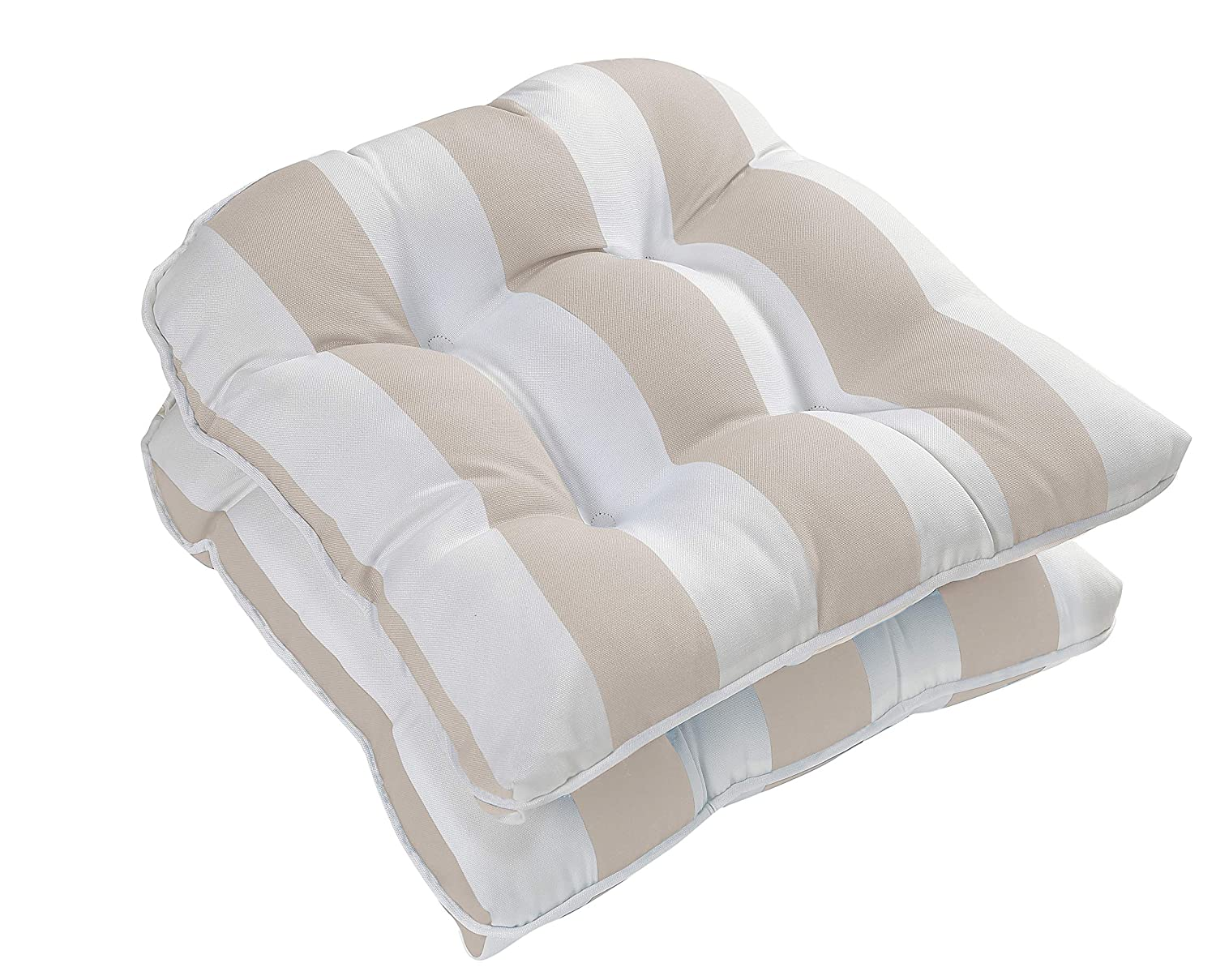 Set of 2 Beige Ornavo Home Water Resistant Indoor//Outdoor Patio Decorative Stripe Tufted Wicker Chair Seat Cushion Pad
