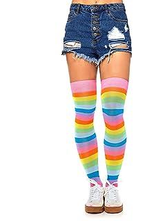 12af3f787faee Amazon.com: Leg Avenue Womens Spandex Rainbow Striped Thigh Highs ...